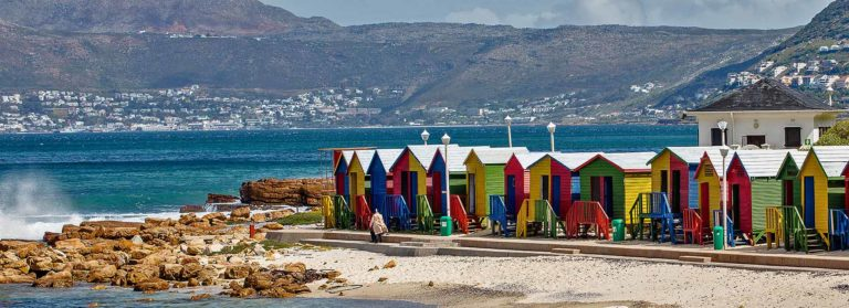 Colorful houses at the seashore in Cape Town